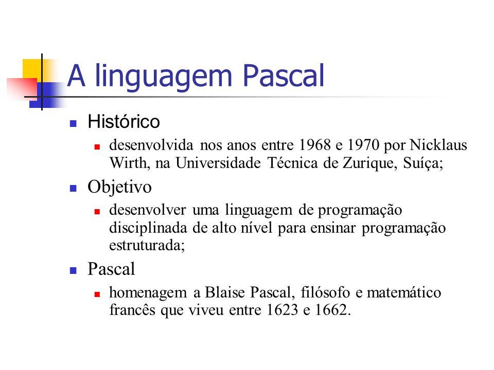 A linguagem Pascal Histórico Objetivo Pascal