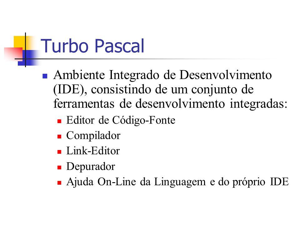 Turbo Pascal Ambiente Integrado de Desenvolvimento (IDE), consistindo de um conjunto de ferramentas de desenvolvimento integradas: