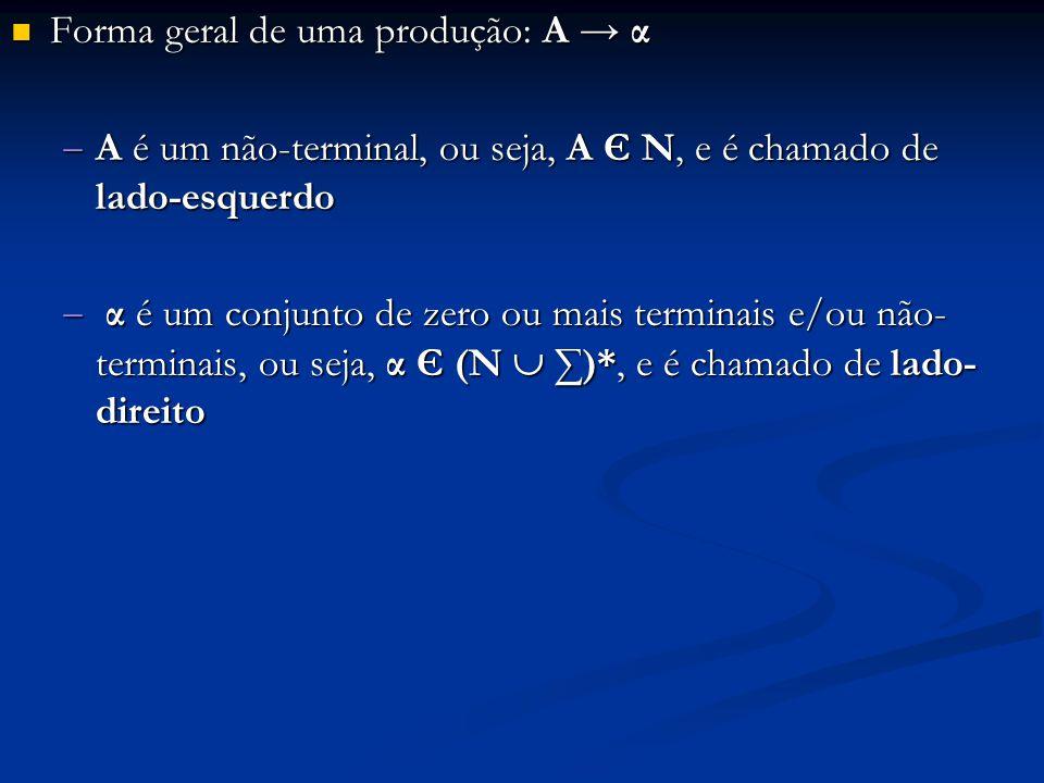 Forma geral de uma produção: A → α