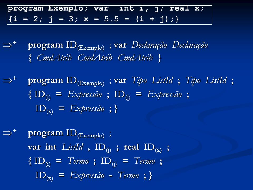 + program ID(Exemplo) ; var Declaração Declaração
