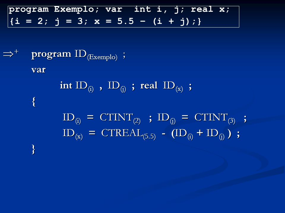 + program ID(Exemplo) ; var int ID(i) , ID(j) ; real ID(x) ; {