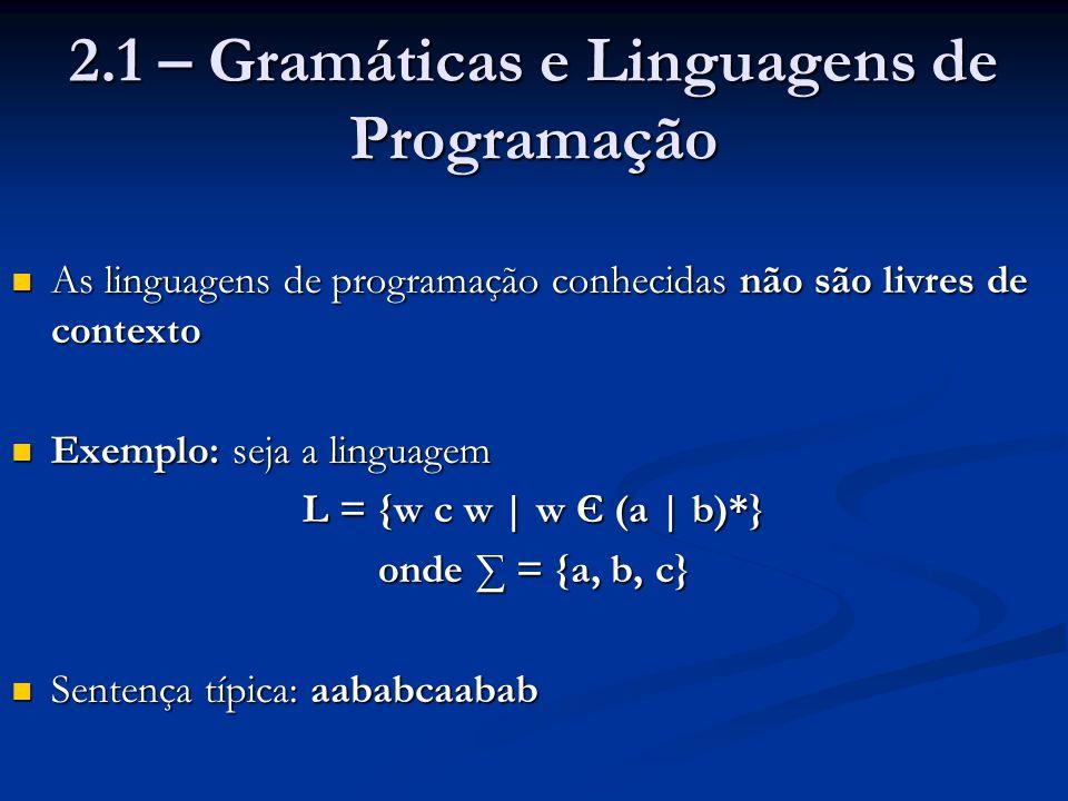 2.1 – Gramáticas e Linguagens de Programação