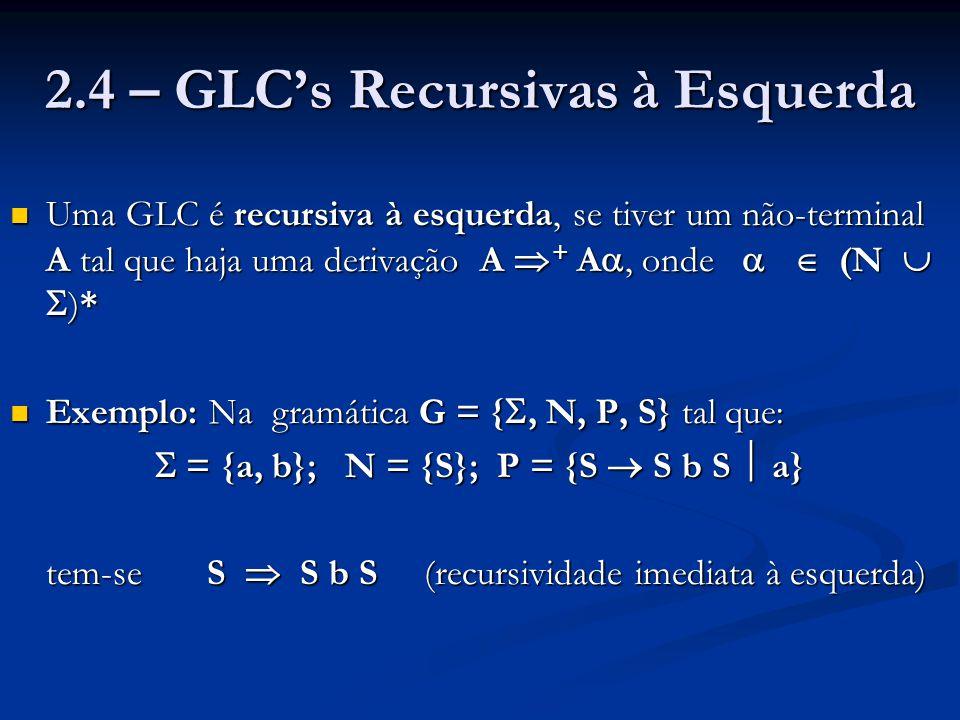 2.4 – GLC's Recursivas à Esquerda