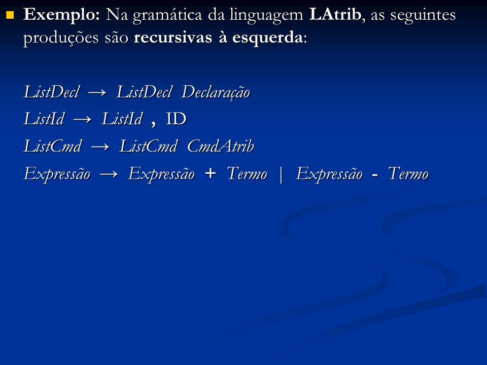 Exemplo: Na gramática da linguagem LAtrib, as seguintes produções são recursivas à esquerda: