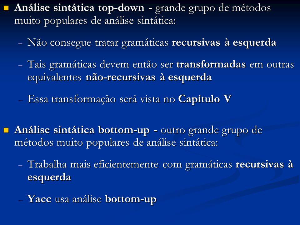 Análise sintática top-down - grande grupo de métodos muito populares de análise sintática: