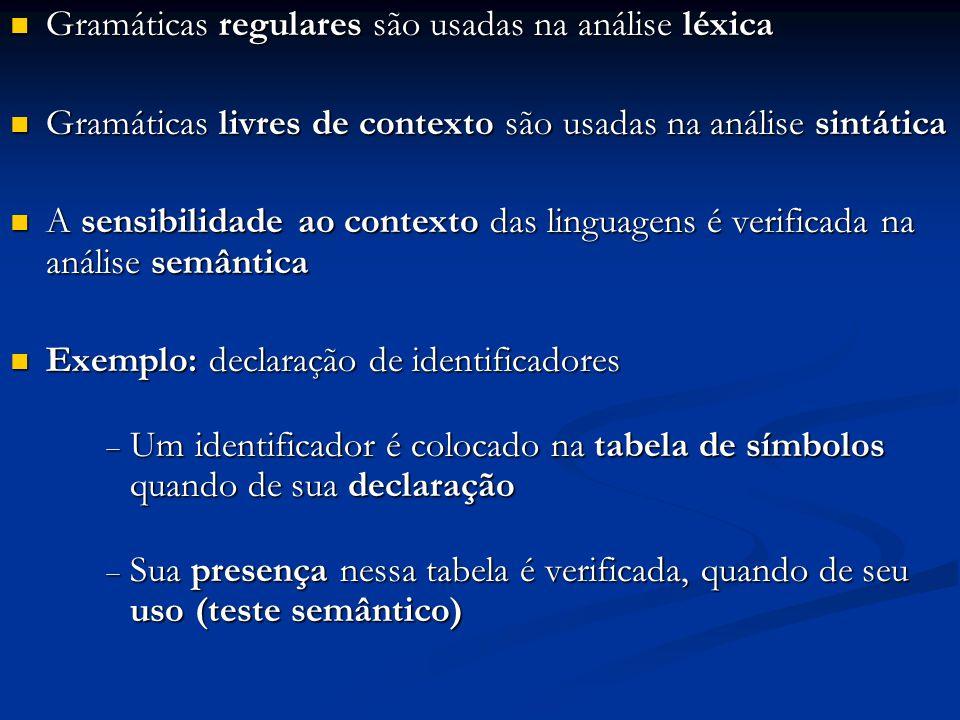Gramáticas regulares são usadas na análise léxica