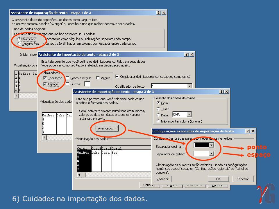 6) Cuidados na importação dos dados.