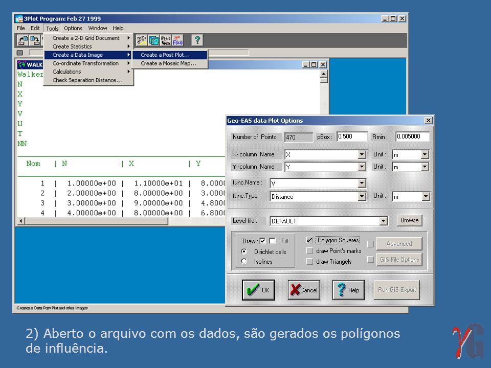 2) Aberto o arquivo com os dados, são gerados os polígonos de influência.