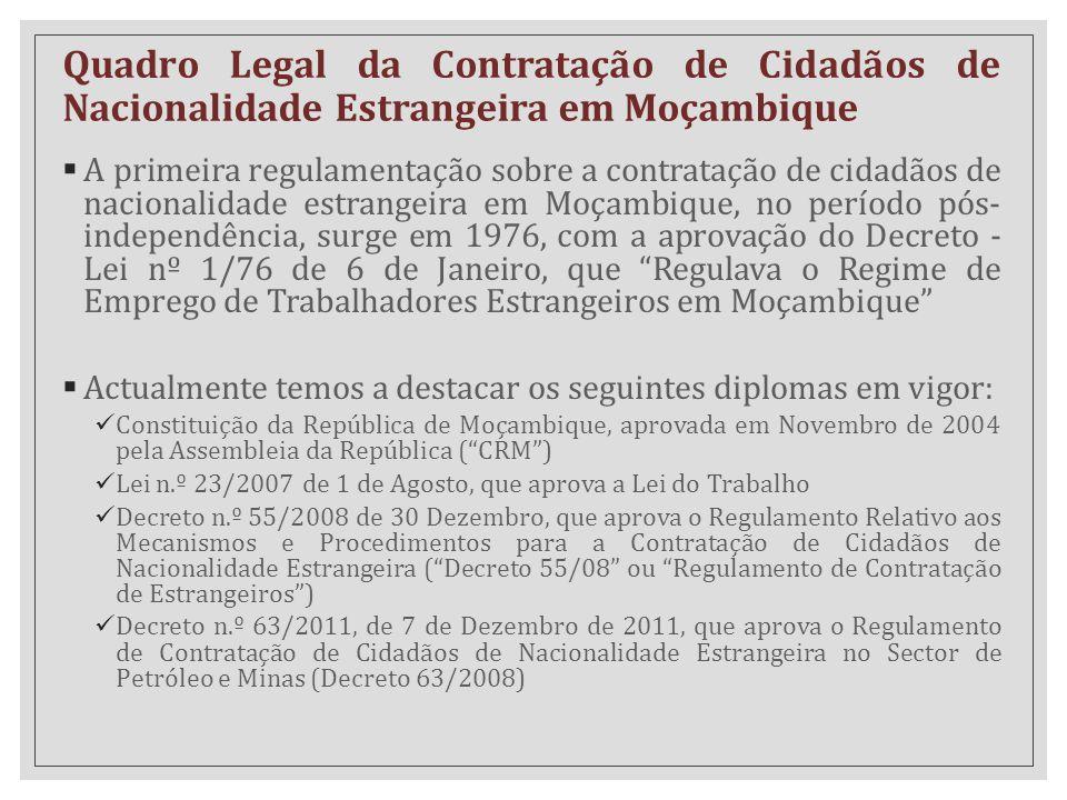 Quadro Legal da Contratação de Cidadãos de Nacionalidade Estrangeira em Moçambique