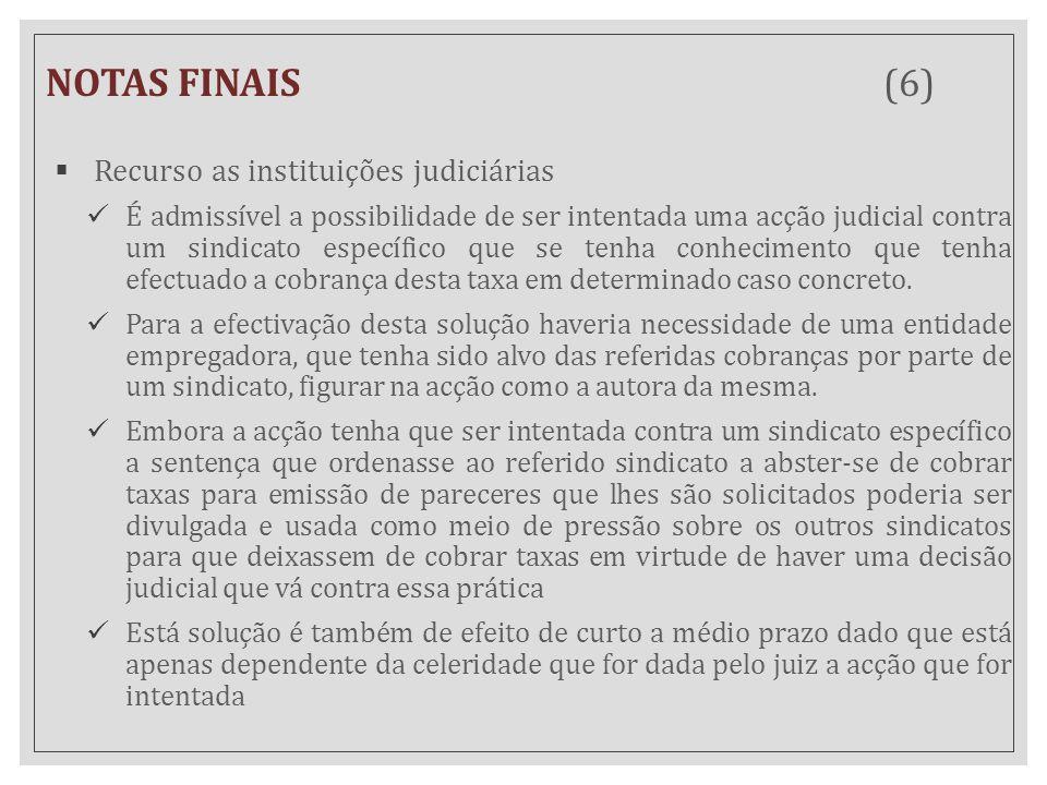 NOTAS FINAIS (6) Recurso as instituições judiciárias
