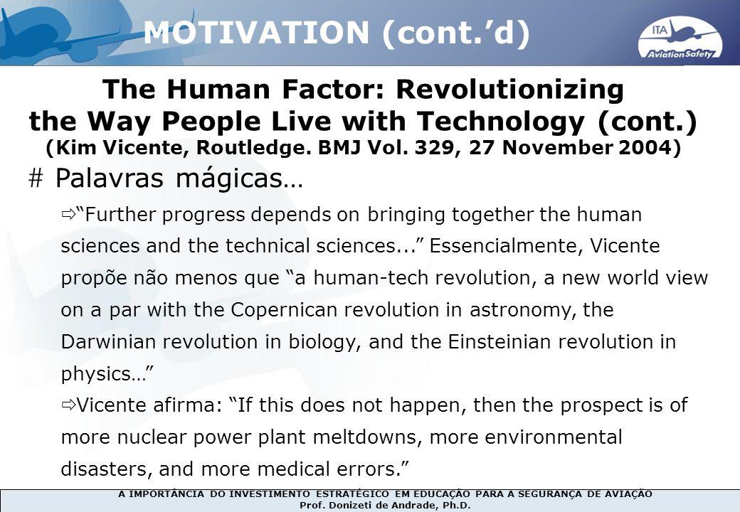 MOTIVATION (cont.'d) The Human Factor: Revolutionizing