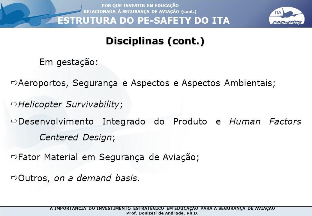Disciplinas (cont.) ESTRUTURA DO PE-SAFETY DO ITA Em gestação: