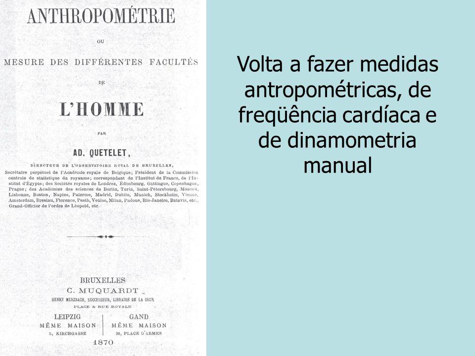 Volta a fazer medidas antropométricas, de freqüência cardíaca e de dinamometria manual