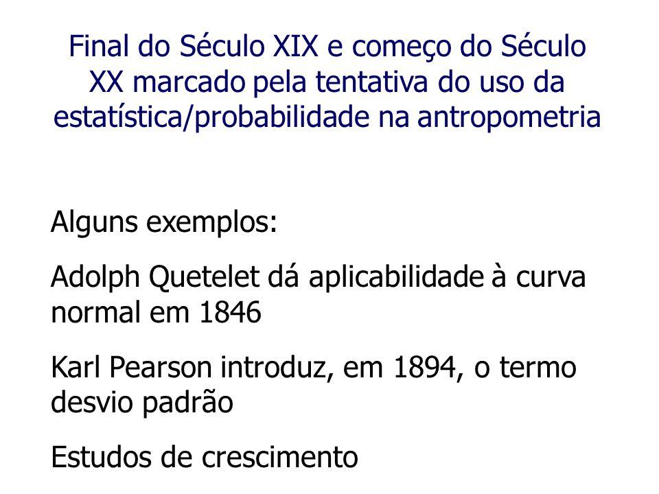 Final do Século XIX e começo do Século XX marcado pela tentativa do uso da estatística/probabilidade na antropometria