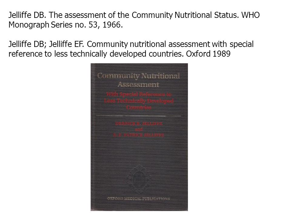Jelliffe DB. The assessment of the Community Nutritional Status
