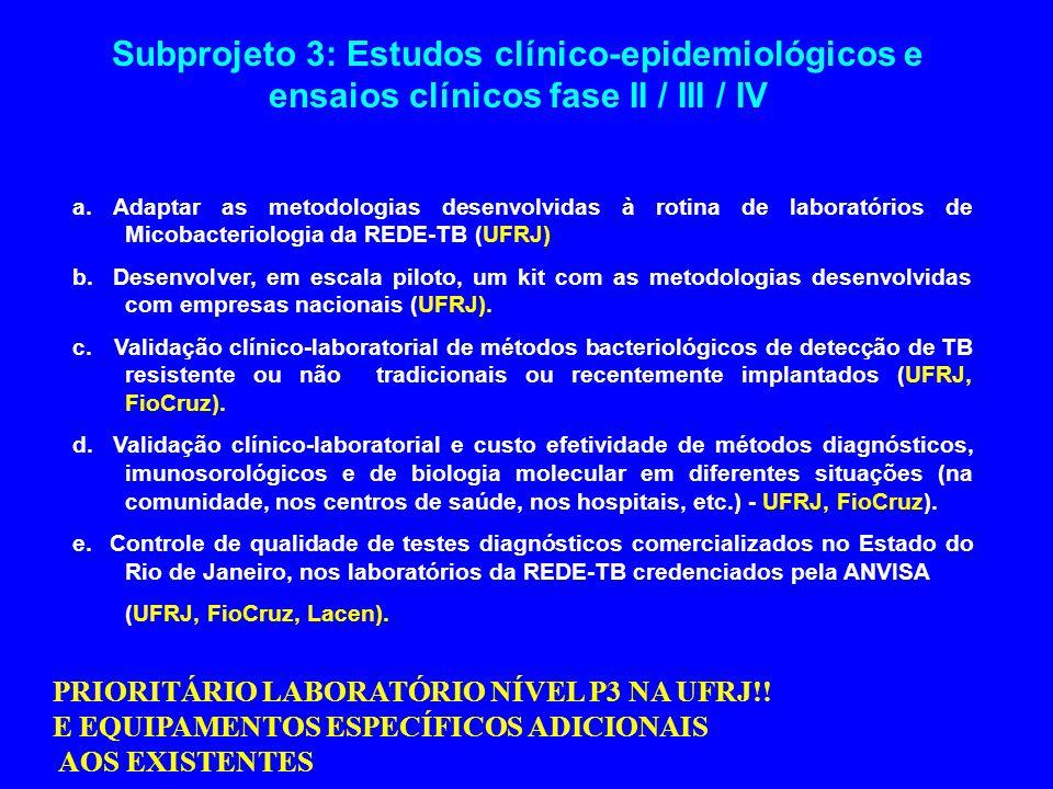 Subprojeto 3: Estudos clínico-epidemiológicos e ensaios clínicos fase II / III / IV