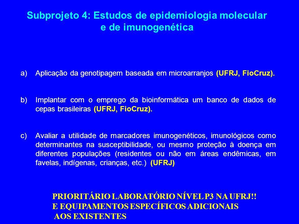 Subprojeto 4: Estudos de epidemiologia molecular e de imunogenética
