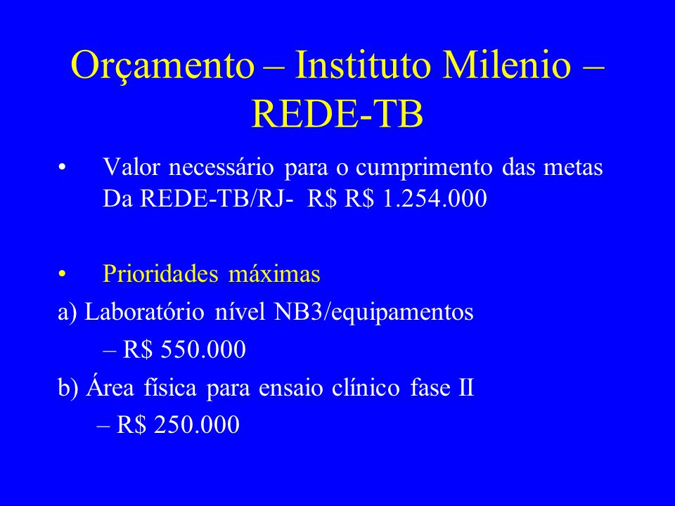 Orçamento – Instituto Milenio –REDE-TB