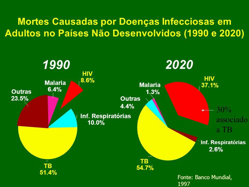Mortes Causadas por Doenças Infecciosas em Adultos no Países Não Desenvolvidos (1990 e 2020)