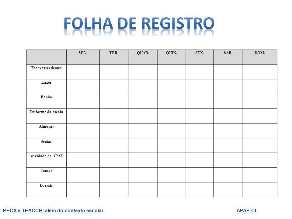 FOLHA DE REGISTRO PECS e TEACCH: além do contexto escolar APAE-CL SEG.