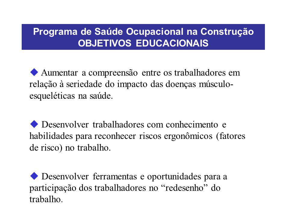 Programa de Saúde Ocupacional na Construção OBJETIVOS EDUCACIONAIS