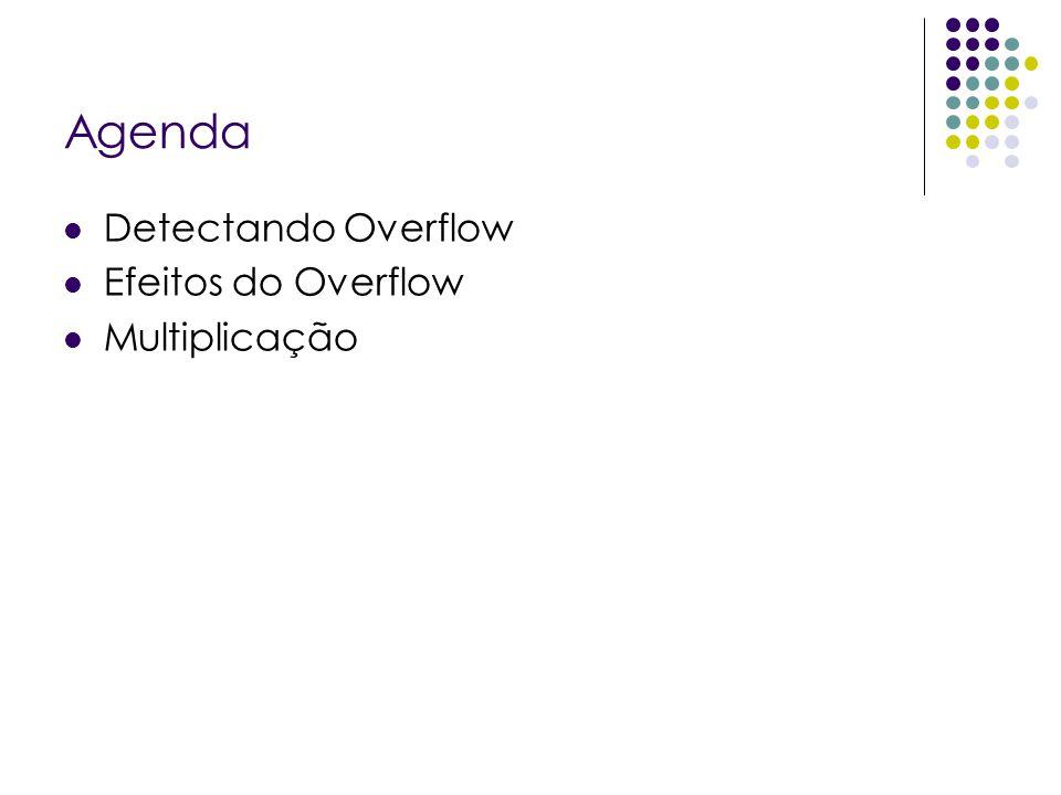 Agenda Detectando Overflow Efeitos do Overflow Multiplicação