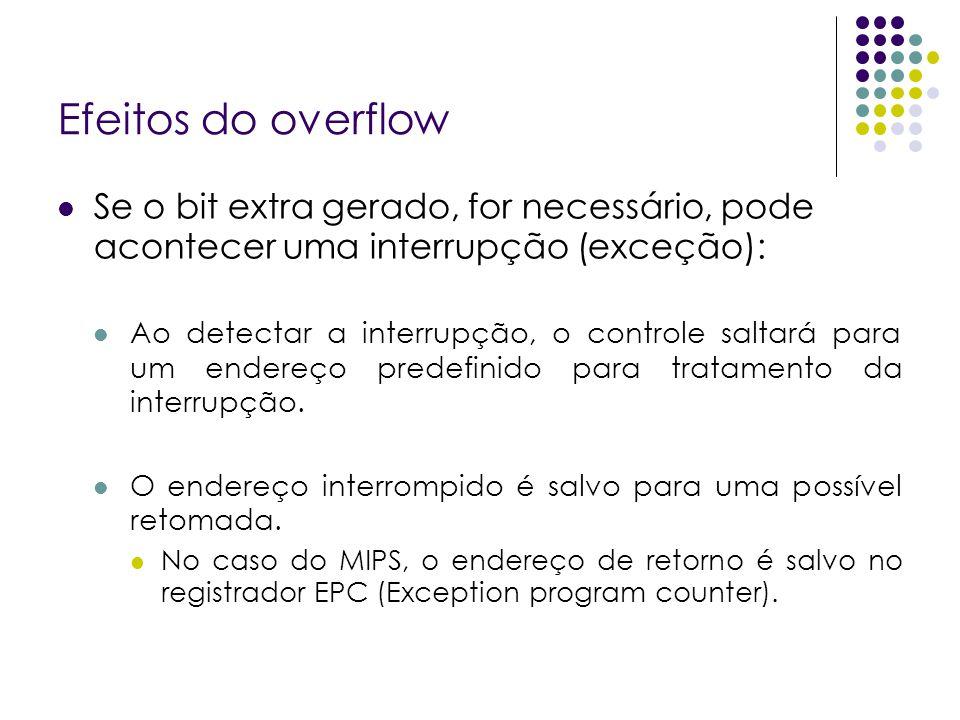 Efeitos do overflow Se o bit extra gerado, for necessário, pode acontecer uma interrupção (exceção):