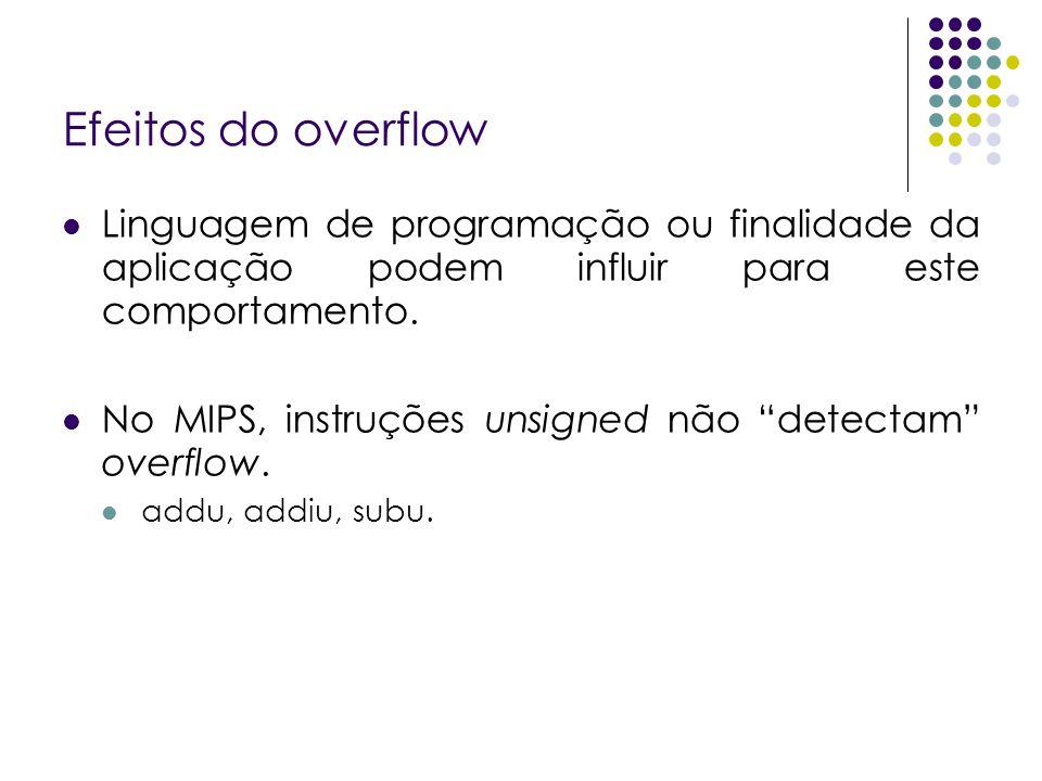 Efeitos do overflow Linguagem de programação ou finalidade da aplicação podem influir para este comportamento.
