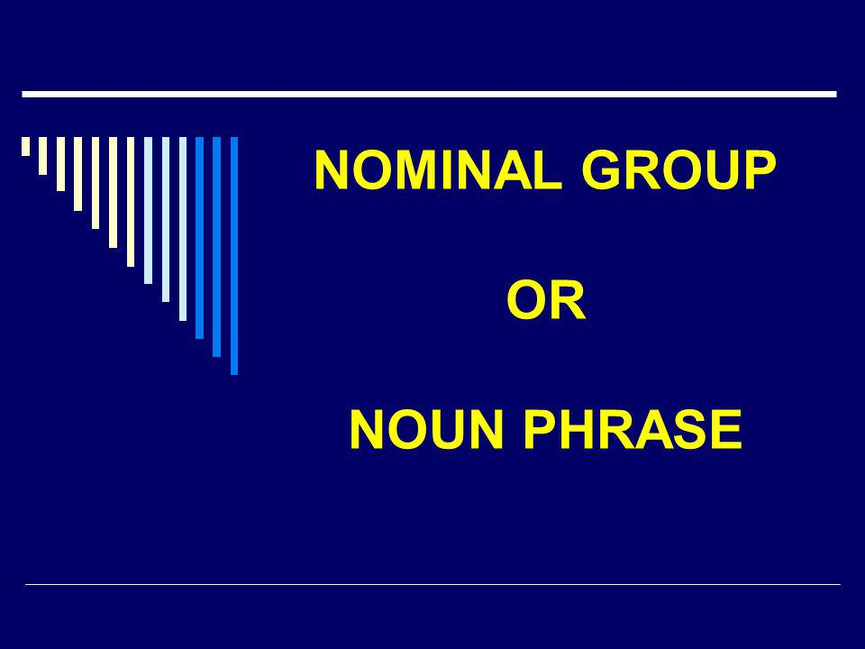 NOMINAL GROUP OR NOUN PHRASE