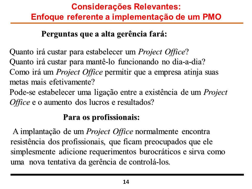 Considerações Relevantes: Enfoque referente a implementação de um PMO