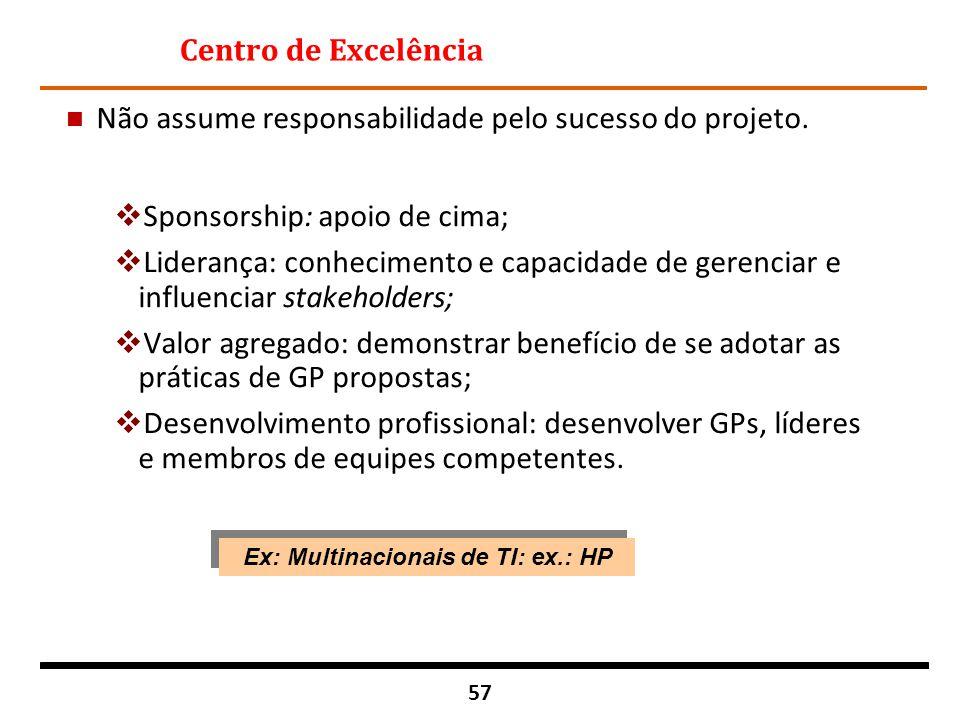 Ex: Multinacionais de TI: ex.: HP