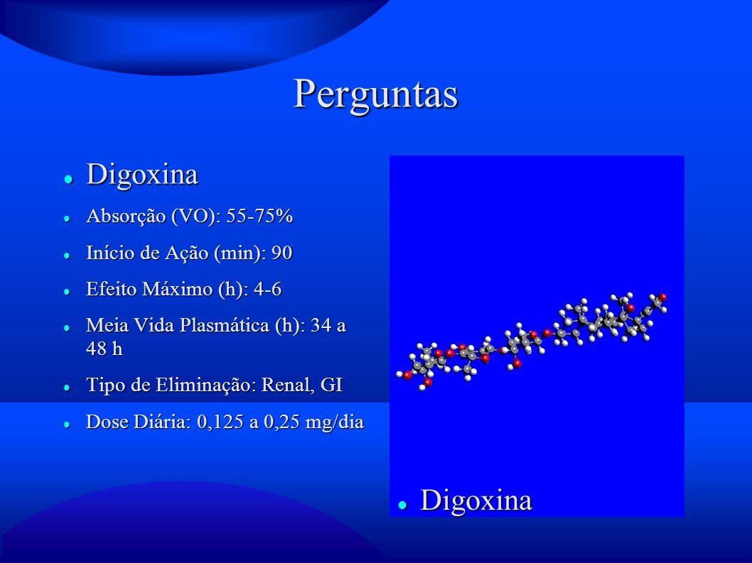 Perguntas Digoxina Digoxina Absorção (VO): 55-75%
