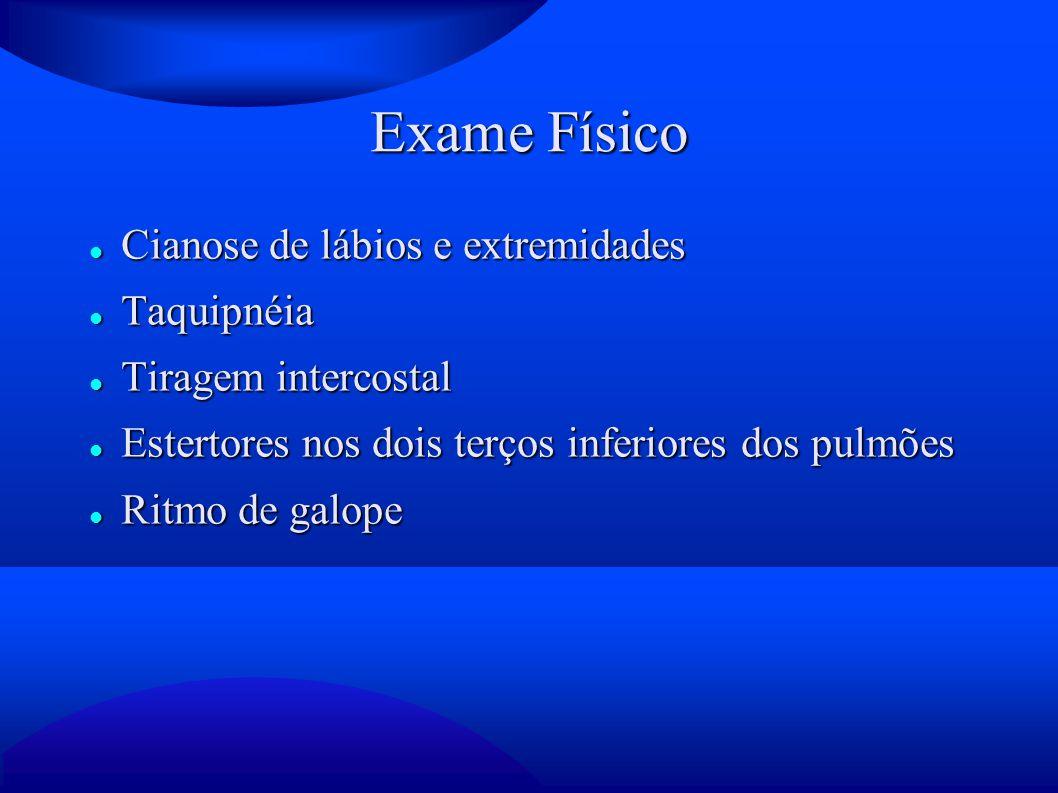 Exame Físico Cianose de lábios e extremidades Taquipnéia