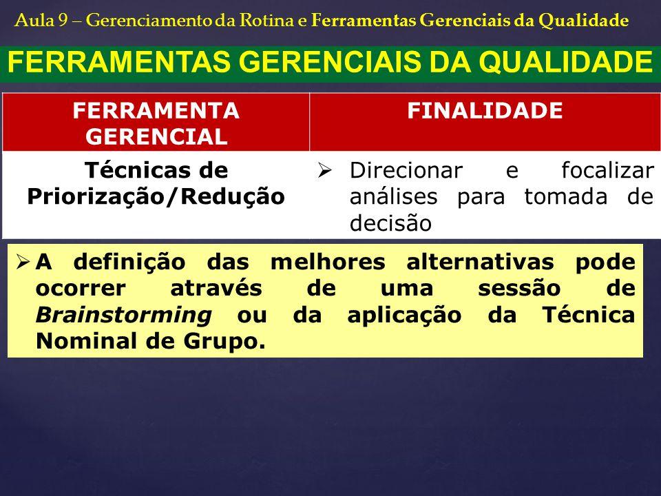 FERRAMENTAS GERENCIAIS DA QUALIDADE Técnicas de Priorização/Redução