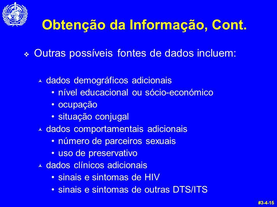 Obtenção da Informação, Cont.