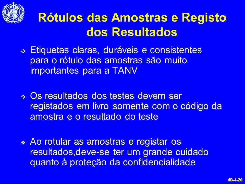 Rótulos das Amostras e Registo dos Resultados