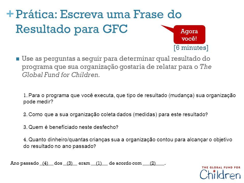 Prática: Escreva uma Frase do Resultado para GFC