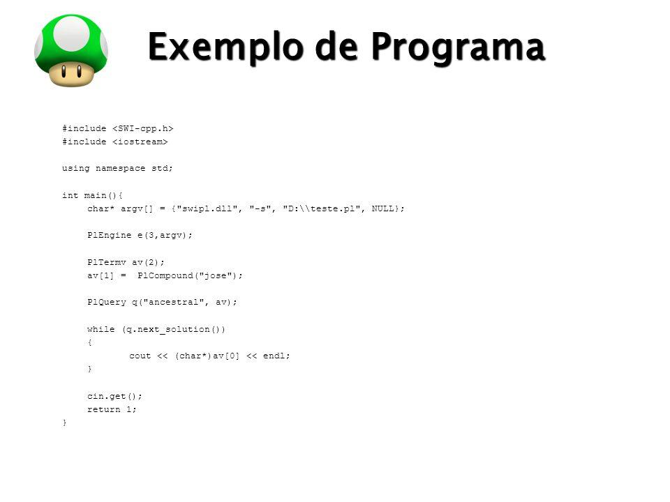 Exemplo de Programa #include <SWI-cpp.h>