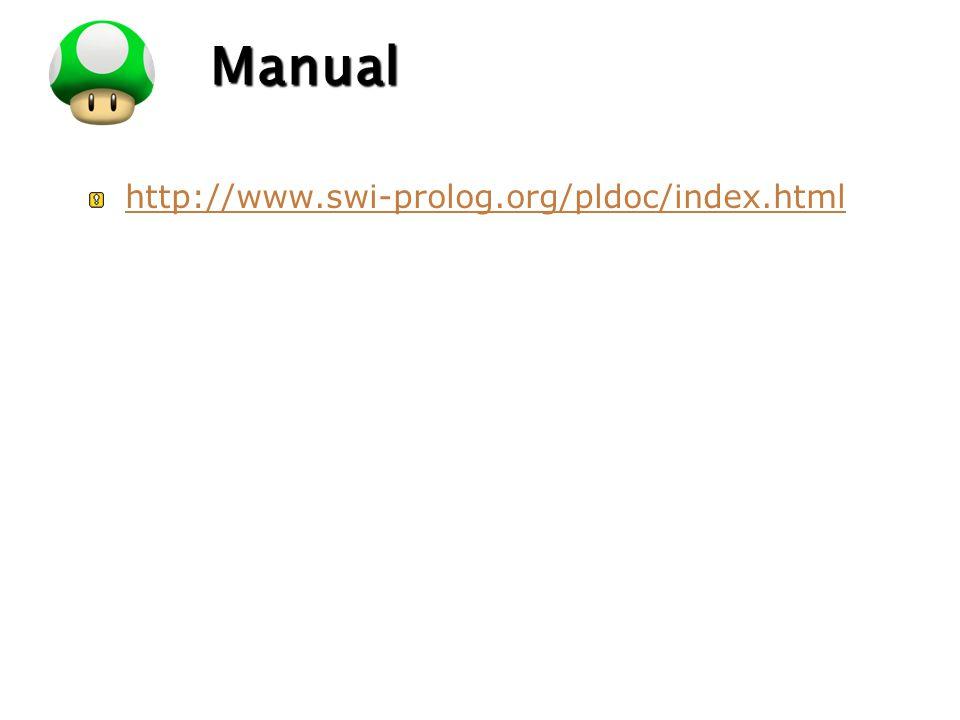Manual http://www.swi-prolog.org/pldoc/index.html