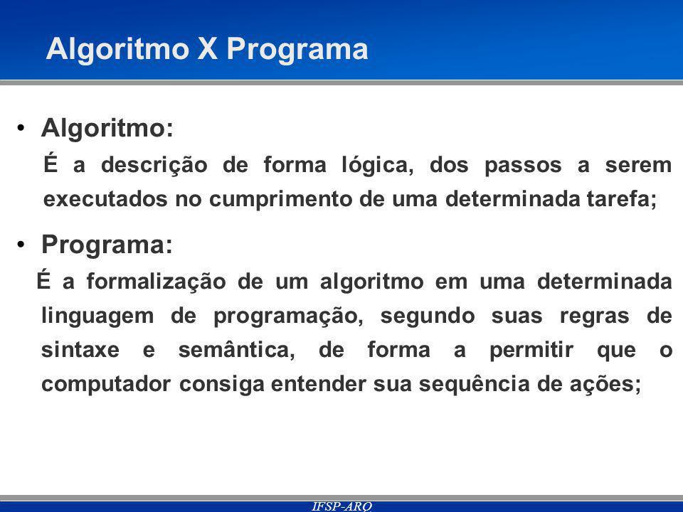 Algoritmo X Programa Algoritmo: Programa: