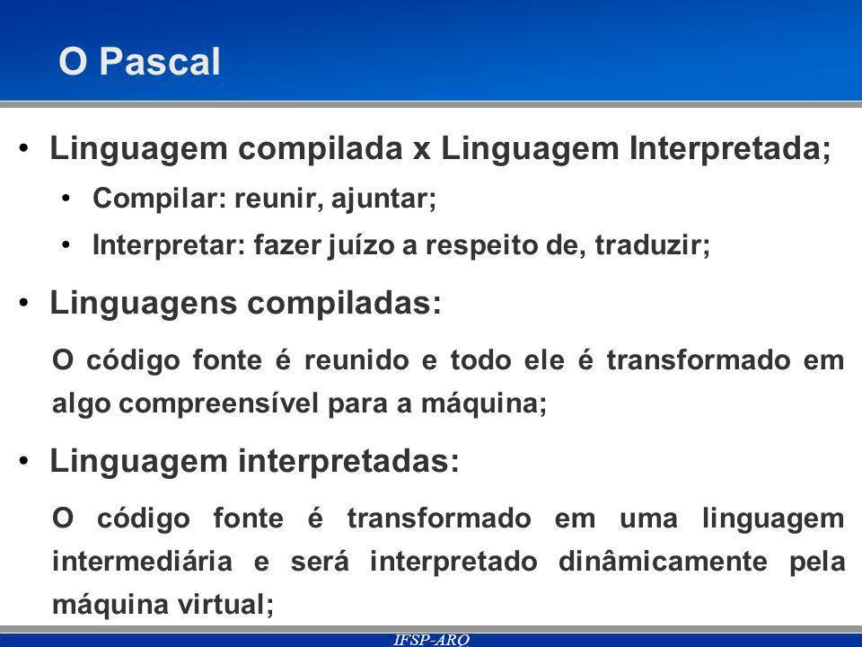 O Pascal Linguagem compilada x Linguagem Interpretada;