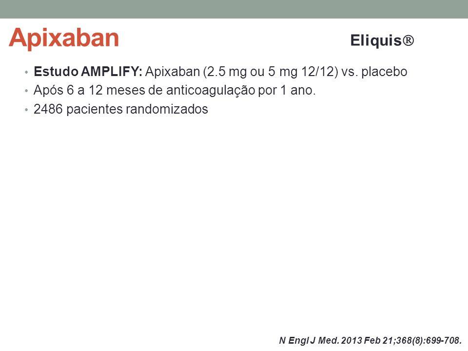 Apixaban Eliquis Estudo AMPLIFY: Apixaban (2.5 mg ou 5 mg 12/12) vs. placebo. Após 6 a 12 meses de anticoagulação por 1 ano.