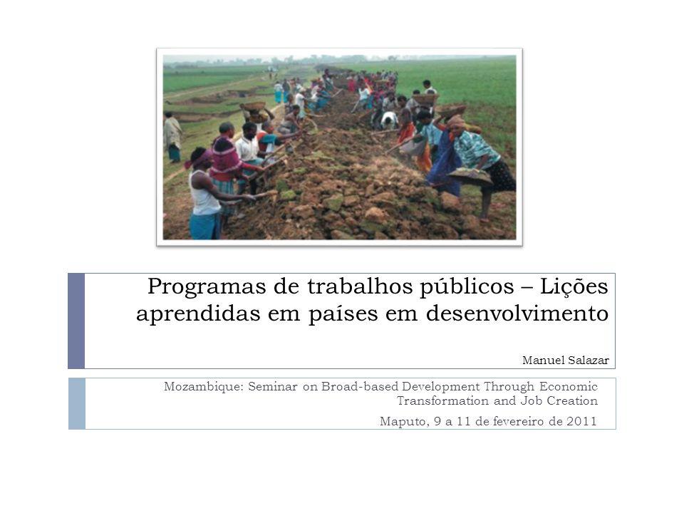 Programas de trabalhos públicos – Lições aprendidas em países em desenvolvimento Manuel Salazar