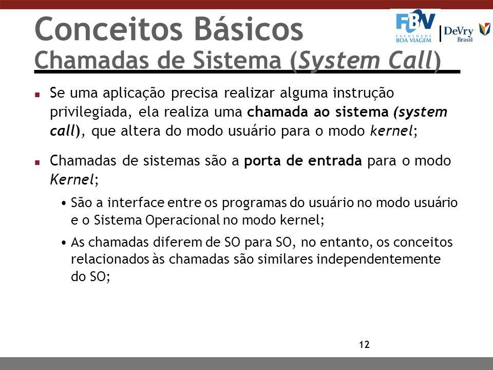 Conceitos Básicos Chamadas de Sistema (System Call)