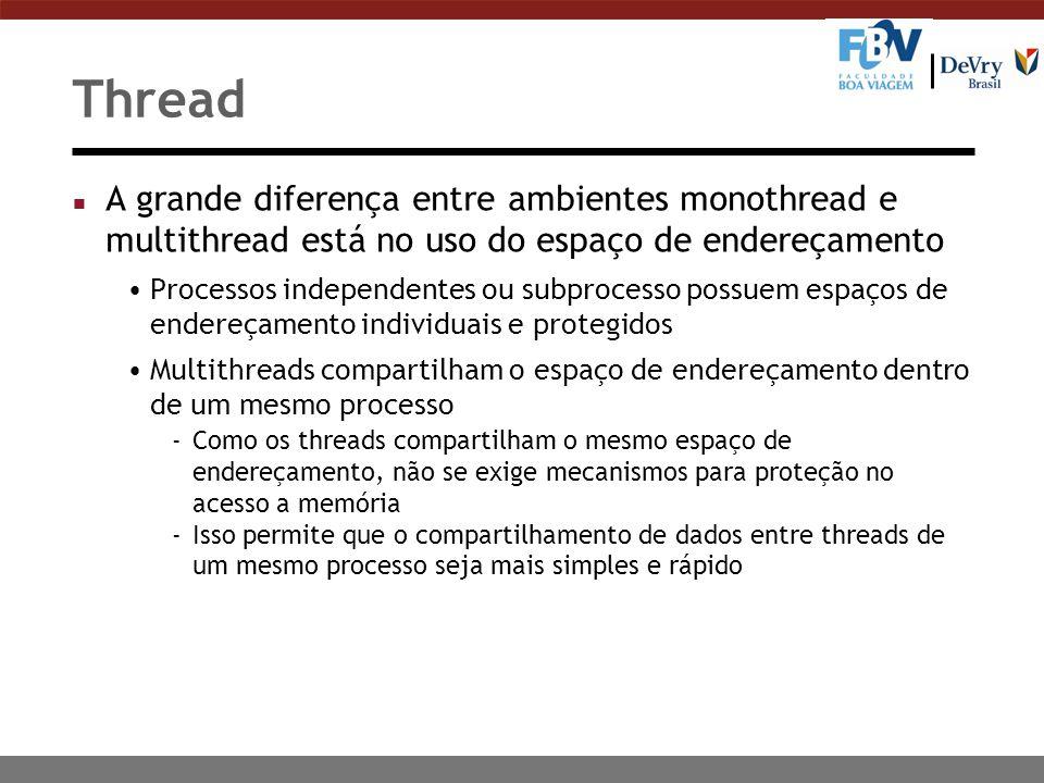 Thread A grande diferença entre ambientes monothread e multithread está no uso do espaço de endereçamento.