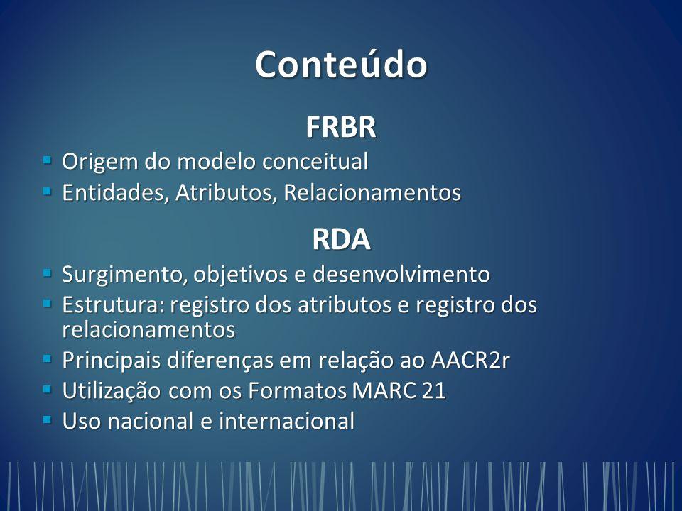 Conteúdo FRBR RDA Origem do modelo conceitual