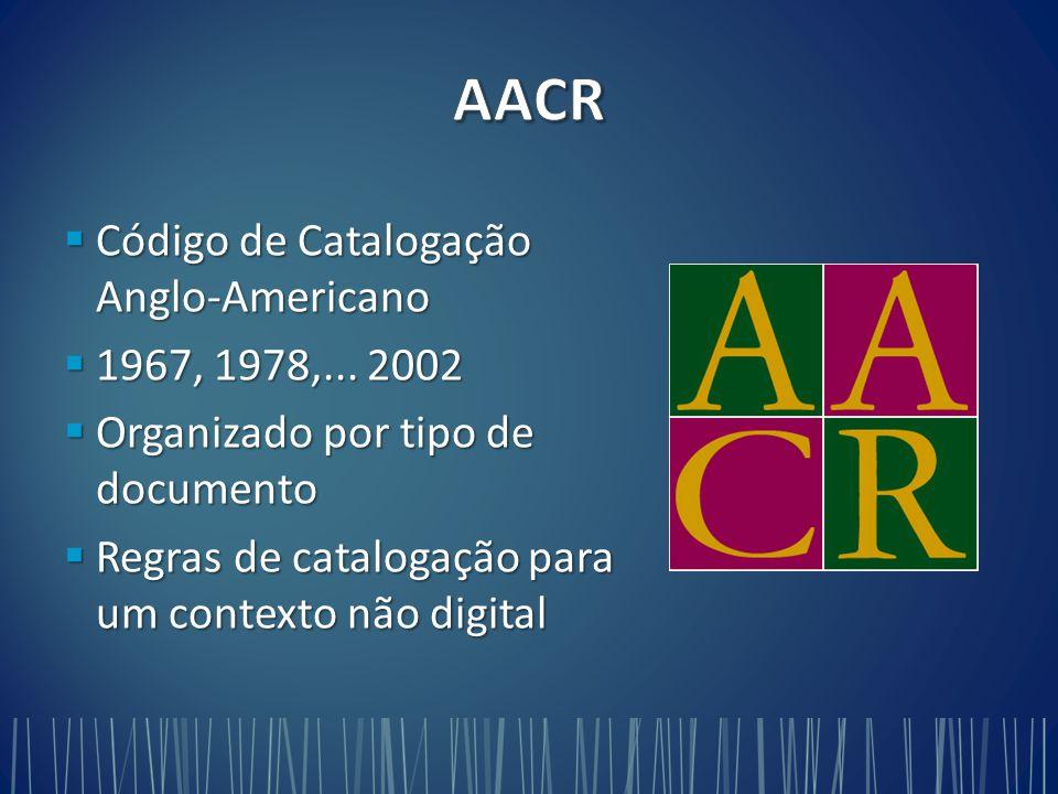 AACR Código de Catalogação Anglo-Americano 1967, 1978,... 2002