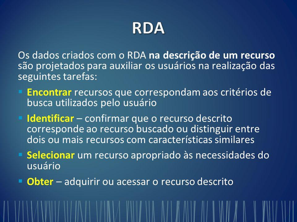 RDA Os dados criados com o RDA na descrição de um recurso são projetados para auxiliar os usuários na realização das seguintes tarefas: