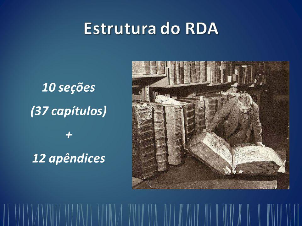 Estrutura do RDA 10 seções (37 capítulos) + 12 apêndices