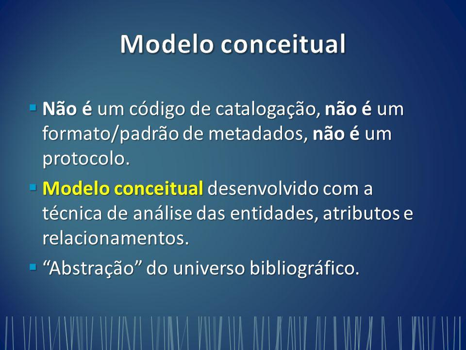Modelo conceitual Não é um código de catalogação, não é um formato/padrão de metadados, não é um protocolo.